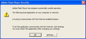Flash Security Warning