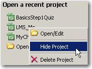 Hiding a project