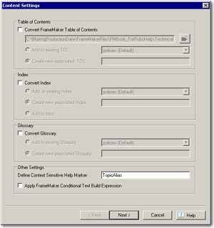The Content Settings dialog box