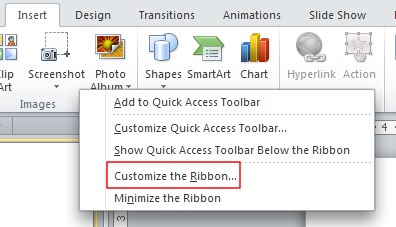 Customize the Ribbon