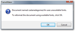 The dreaded unavailable fonts dialog box