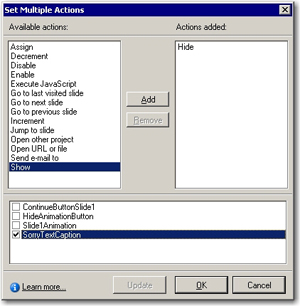 Set multiple actions