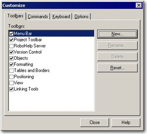 New toolbar appears in the list of toolbars