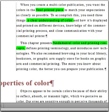Resulting highlighted text in the FM document.
