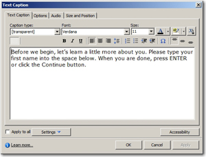 Text Caption asking the user to type their first name