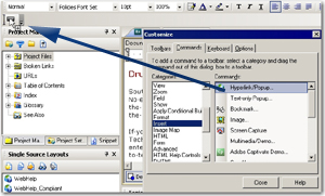 Adding commands to a toolbar
