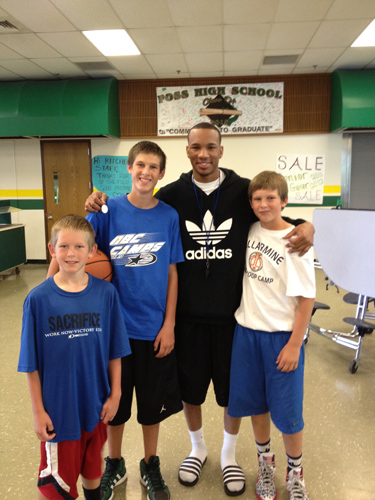 Jase and Zach Paulsen let younger brother Tyce share the spotlight with Avery Bradley at his 2nd Annual Avery Bradley Basketball Camp