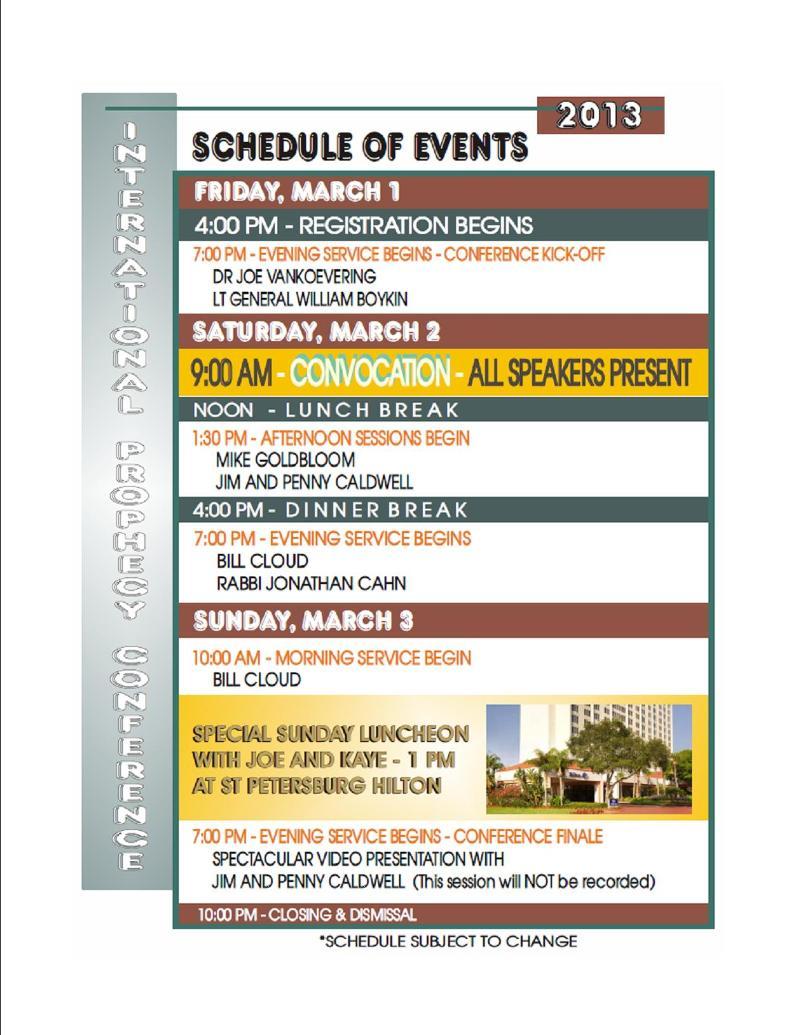 speaker schedule 2013