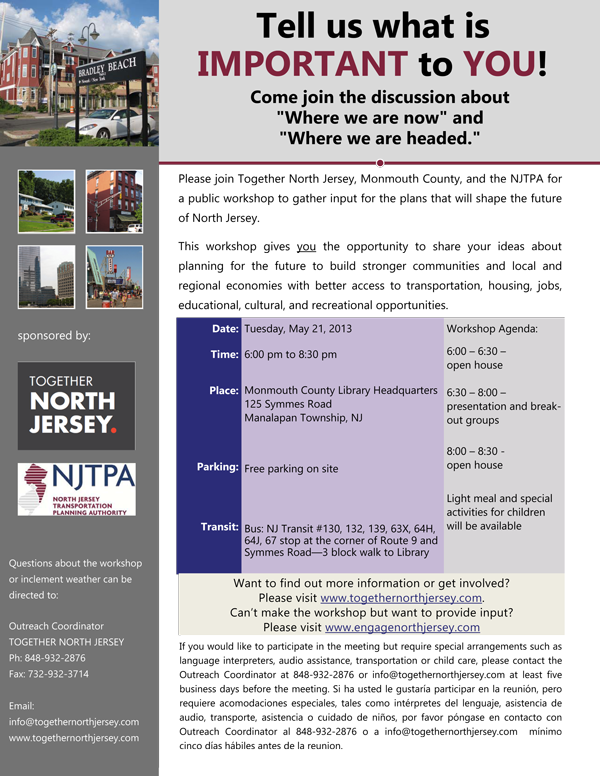 Workshop: Together North New Jersey Tuesday May 21