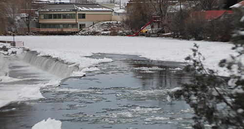 Ice jammed the Henry's Fork at St. Anthony after an early cold snap over the weekend.