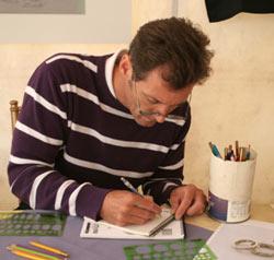 Deane, head goldsmith, sketching