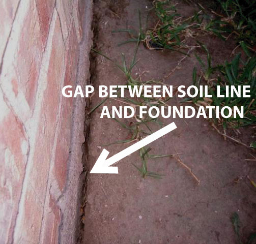 Image result for images of gaps of dirt around foundation