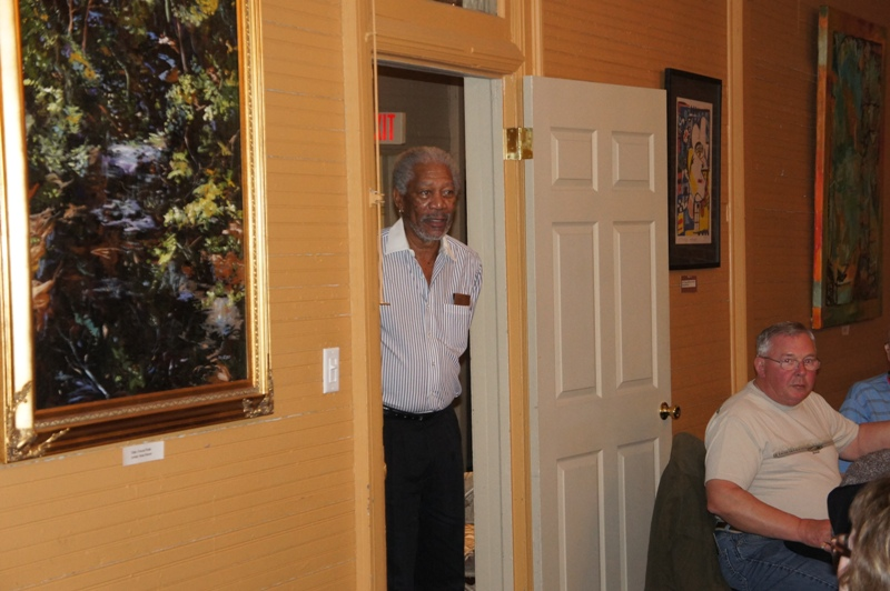 photo of Morgan Freeman meeting with Edgerton's travelers