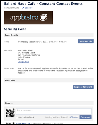 Manage Your Constant Contact Events on Your Facebo