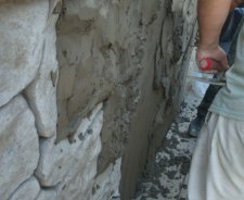 Exposed concrete foundation walls transformed with StoneMakers...