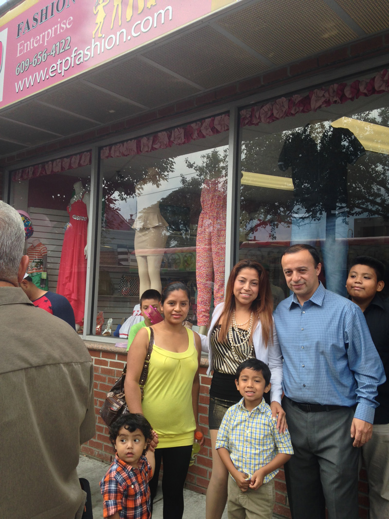 Sarai Palomo and SBDC Consultant Henry Pulido at ETP Fashion Enterprise's Grand Opening in Trenton