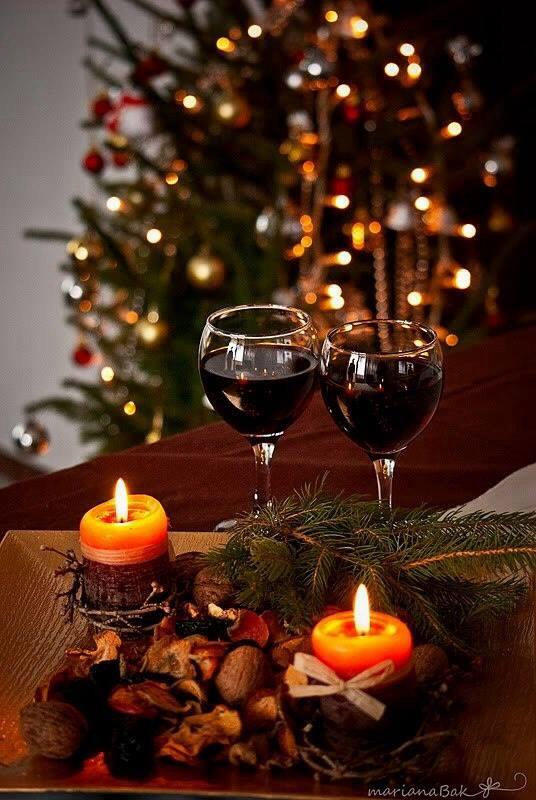 Wineglasses, bowl of nuts & Xmas tree