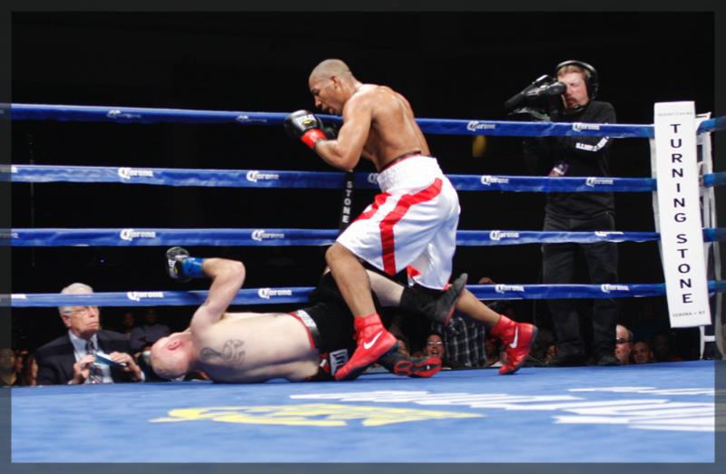 Andrey Fedosov, Donovan Dennis, Lenroy Thomas - Verona, NY (February 22, 2015)--Andrey Fedosov, Donovan Dennis, Lenroy Thomas and Razvan Cojanu all scored victories in their quarterfinal bouts in the Boxcino Heavyweight tournament at the Turning Stone Resort Casino.