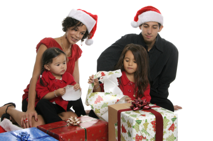 Family opening presents