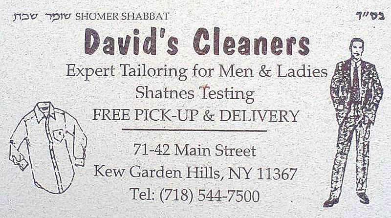David's Cleaners Ad