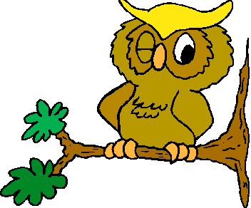 Cartoon owl on a branch winking.