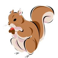Graphic of a squirrel chewing on a nutshell.