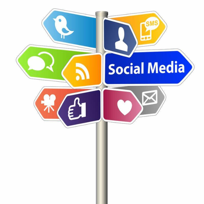 Social Media Network Sign on white background