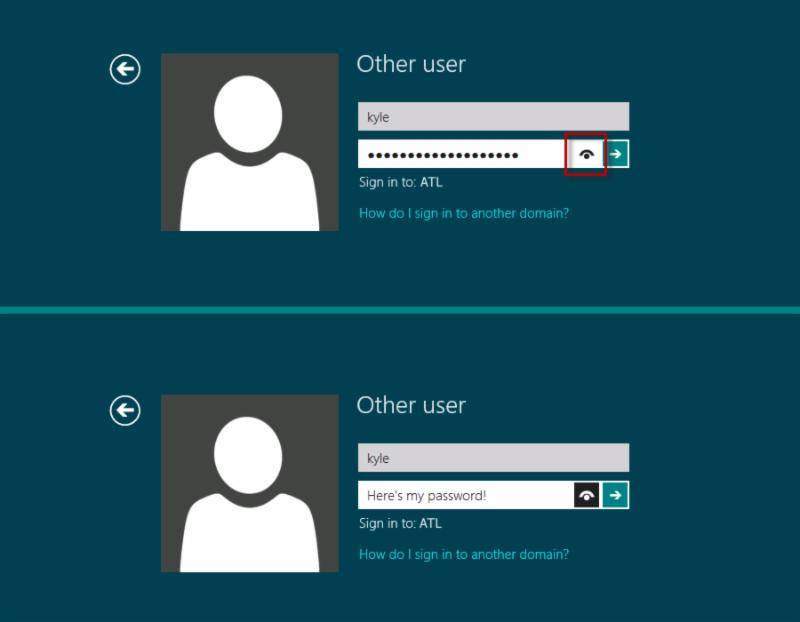 windows 8 login password