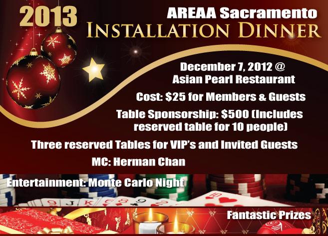 2012 AREAA SACRAMENTO MEMBER/SPONSOR & 2013 INSTALLATION DINNER