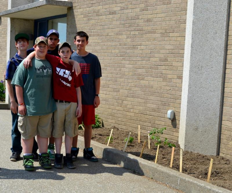 St Albans students with planted garden