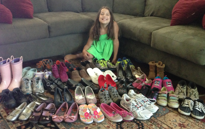 Sophia's givft of shoes!