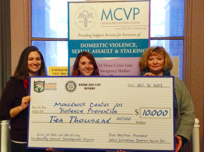 MCVP Receves $10,00 from the Keene RotaryElm City