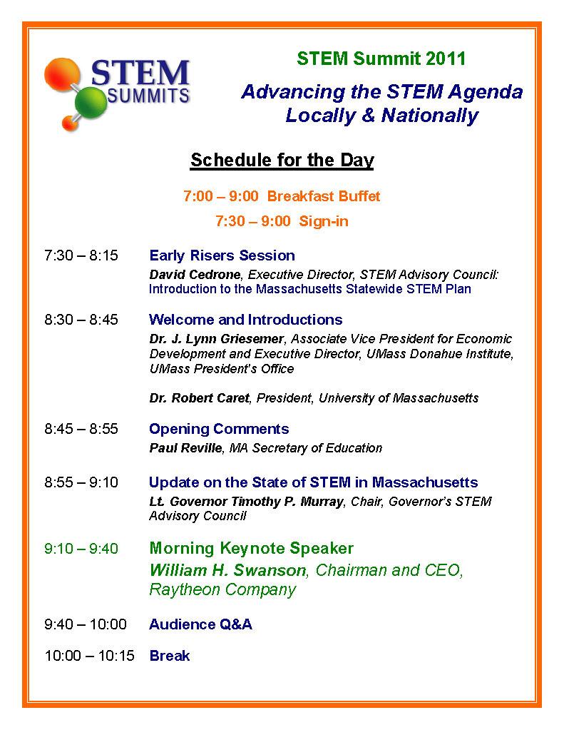 2011 STEM Summit Schedule Page1