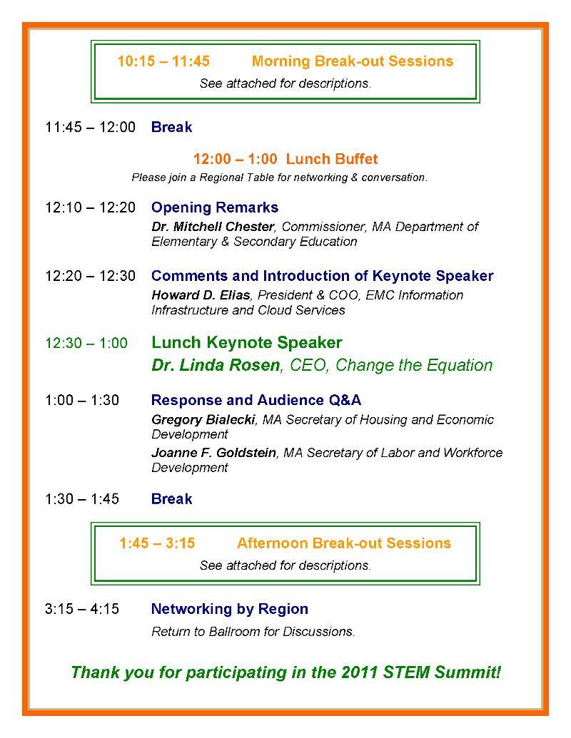 2011 STEM Summit Schedule Page 2