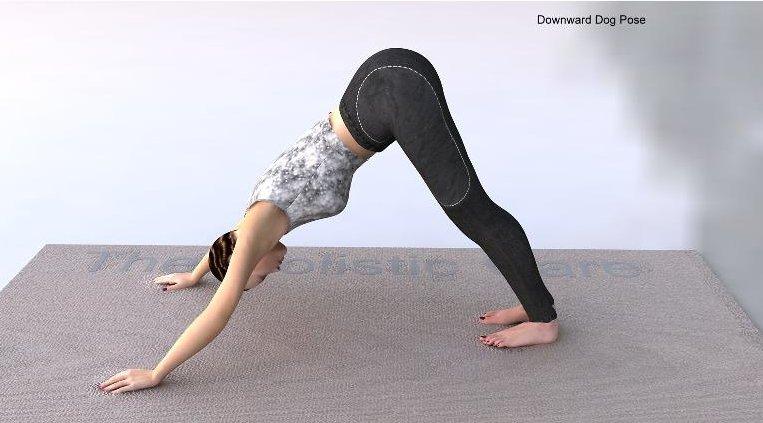 A yoga practioner in Downward Facing Dog