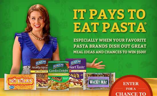 It Pays to Eat Pasta(R) Especially when your favorite pasta brands dish out great meal ideas and chances to win $500! Enter for a chance to win