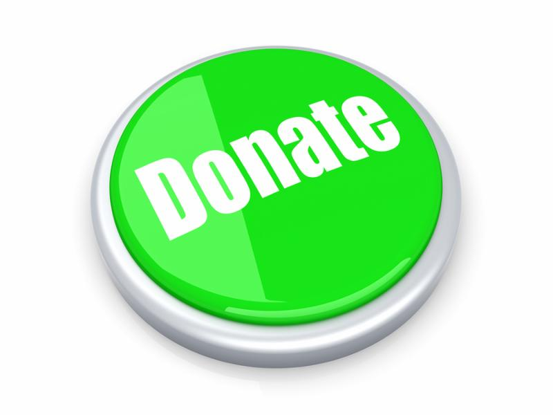 A donate button. 3D rendered illustration. Isolated on white.