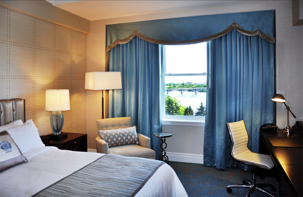 Renovated riverview guestroom, Delta Bessborough Hotel