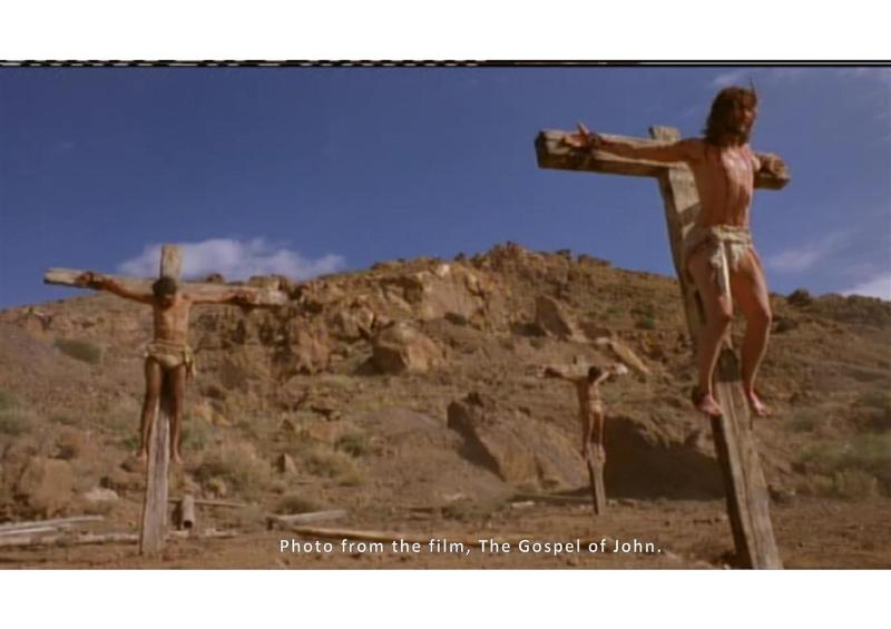 Crucifixion of Jesus Christ, with the two criminals on each side of him.