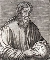 The Greek geographer Strabo in a 16th-century engraving