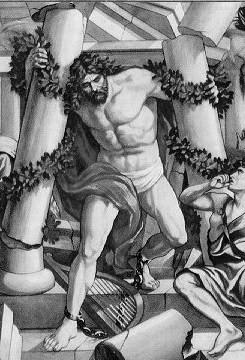 Samson destroys the temple of Dagon, 1890 Bible illustration