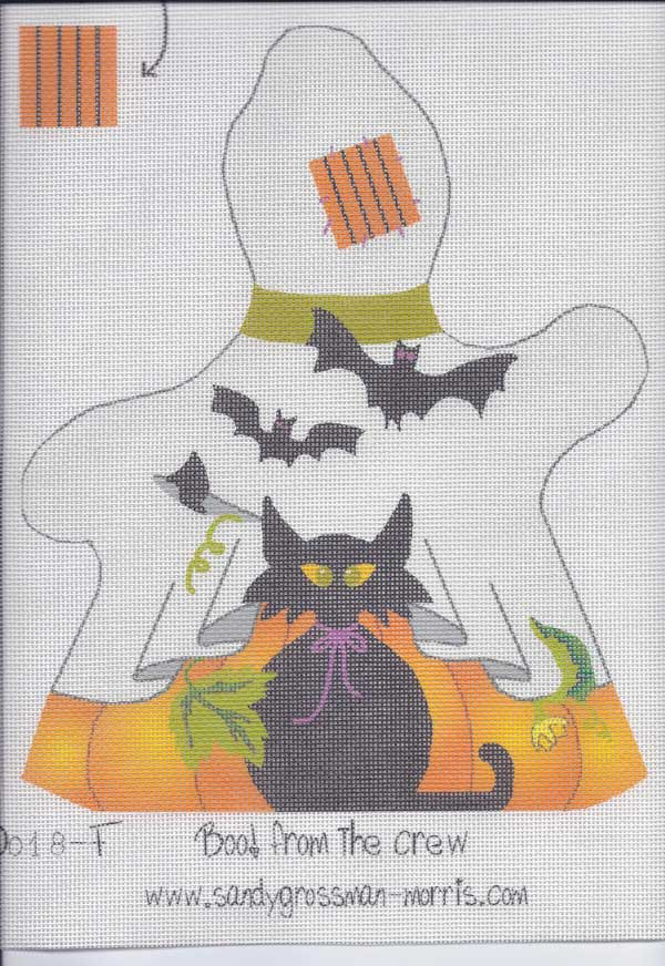 Boo! from the crew stand up needlepoint canvas by Sandy Grossman-Morris