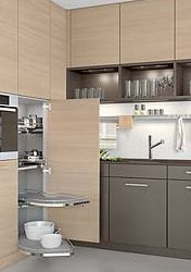 dark gray & pale wood cabinetry