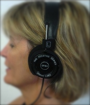 Head with earphones