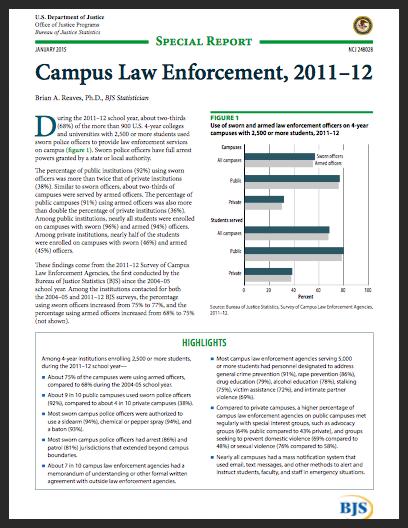 BJA Campus Law Enforcement Cover Image