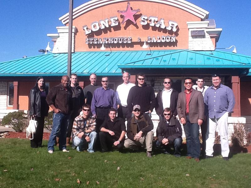 Soldiers enjoying a good meal at Lone Star Steak House