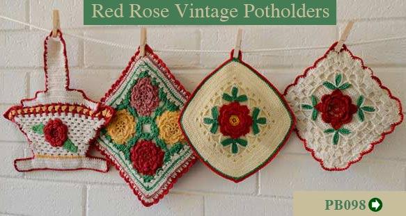 New Vintage Red Aqua Potholder Set Save 10 50 On Select Items
