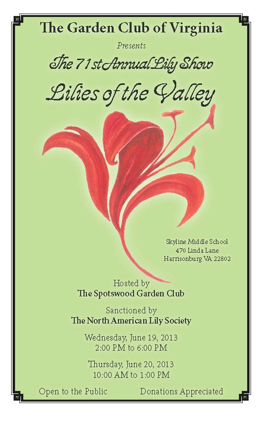 GCV Lily Show 2013 Schedule Cover