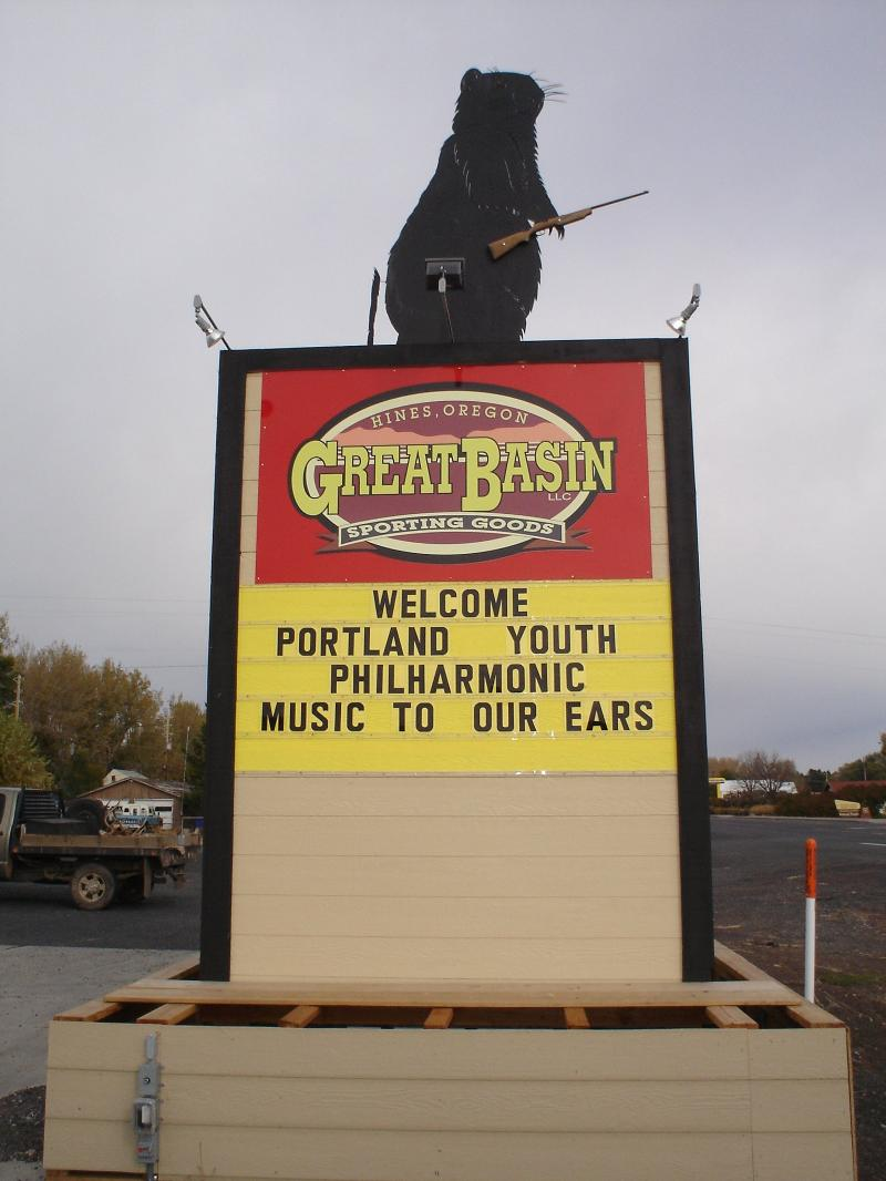 Great Basin Sporting Goods Sign, Welcoming Portland Youth Philharmonic to Hines-Burns