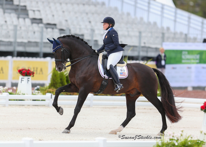 The stallion Kamiakan (with Grade IV rider Susan Treabess) is the first PRE ever to compete on a United States equestrian team